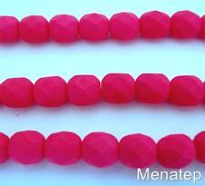 25 6mm Czech Glass Firepolish Beads: Neon - Pink