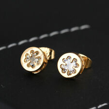 Fashion Women Yellow Gold Filled Clover Inlay Crystal CZ Lucky Stud Earrings