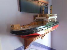 "RARE 37"" wooden SCRATCH BUILT TRAIN FERRY  R/C model boat / ship."