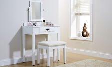 Shaker Style Dressing Table with Mirror and Stool in White or Black