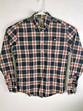 Gant Michael Bastian Dark Blue Navy Red Plaid Pullover Button Shirt Large