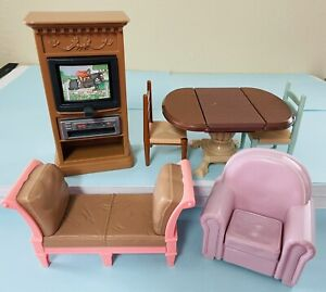 Fisher Price Loving Family Dollhouse Furniture Lot TV Stand Sofa Dining Table
