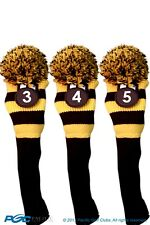 Tour #3, 4, 5 Hybrid Black & Yellow Golf Headcover Knit Pom Pom Head Cover