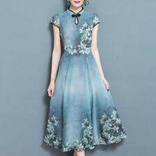 Womens Chiffon A-Line Dress Vintage Floral Printed Evening Party Ball Gown Qipao