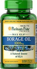 BORAGE OIL 1000 MG A NATURAL SOURCE OF GLA DIETARY SUPPLEMENT 100 SOFTGELS