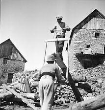 BEUIL c. 1935 - Scieurs de Long  Alpes Maritimes - Négatif 6x6 - N6 PROV1