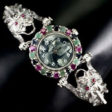 Round Emerald Sapphire Ruby Dial Mop Marcasite 925 Sterling Silver Dragon Watch