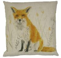 EVANS LICHFIELD FOX REVERSIBLE LINEN BLEND MADE IN THE UK RED CUSHION COVER 17""