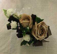 artificial Coffee ,chocolate & Ivory wrist corsage wedding flowers party