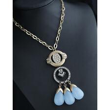 Collar Largo Collar Colgante Azul Crema Estrás Original Noche Matrimonio LL cc