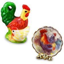 Reutter Porzellan Decor Set Rooster Plate Dollhouse 1:12 1.493/5