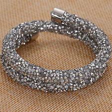 Silver double crystal bracelets and bangle For women Gift
