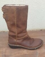 UGG Australia Leather Boots Brown Womens Size 7 Pull On Sheepskin Lining 1001893