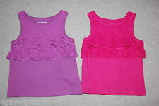 Baby Girls Lot Of Two Tank Top Pink Purple Lace Ruffles 6-9 Mo