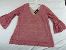 CITY CHIC XS 14 RRP TOP MYSTIC LACE