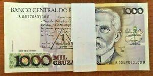 BRAZIL 1 on 1000 CRUZADOS P-216 1989 x 100 Pcs Lot BUNDLE RIO UNC MONEY NOTE