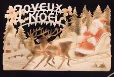 Embossed Vintage/antique Santa Deer Germany Christmas Decoration