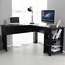 Black L Shaped Computer Desk Corner Pc Table Workstation Home Office W Shelves