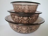 Set 3 Pyrex Visions Ware Amber Mixing Bowls Friendship Pattern Birds 322 323 325