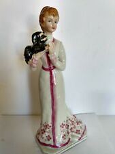 Vintage Victorian Porcelain Figurine of  Lady with her dog 9 inches tall