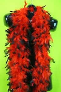 Luxurious Red Black Tipped Feather Boa 6' Halloween Costume Bachelorette Party