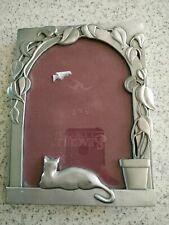 Vintage 1985 seagull pewter etain zinn picture frame arch vine  6.5 x 4.5 cat