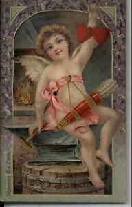 Valentine SQUEAKER Cupid Bows Arrows Anvil Hearts Blacksmith Postcard c1910