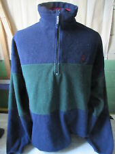 Vtg Nautica Fleece Long Sleeve Pullover Green & Black Size Xl