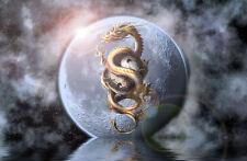 Enmarcado impresión – Japonés Dragón Y Yin Yang En La Luna (foto impresión de arte)