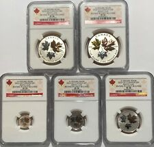 2016 REVERSE PROOF SILVER CANADA MAPLE LEAF NGC PF70 EARLY RELEASES 5 COIN SET