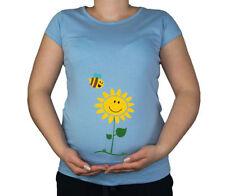 Magliette a manica corta in cotone blu per la maternità
