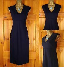 NEW M&S LADIES MIDNIGHT BLUE NAVY PANEL WORK OFFICE SHIFT DRESS UK SIZE 6-14