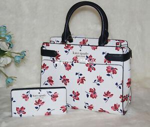Kate Spade Floral Purse & Wallet Staci Medium Satchel & Large Bifold Wallet Set