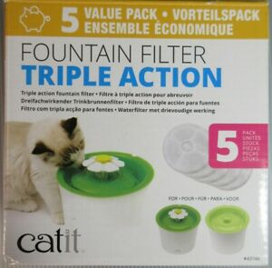 Catit Cat Water Fountain Triple Action Filter Value Pack of 5 Filters NEW #43746