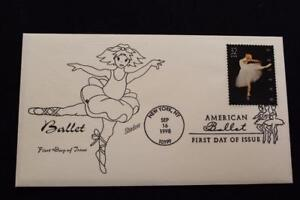 HAND PAINTED COVER 1998 1ST DAY ISSUE AMERICAN BALLET (1548)