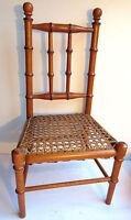 SUPERBE Jouet, meuble de poupée, Chaise cannée, bois façon bambou, Napoléon III