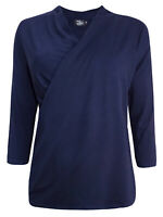 Brand New Size 12,14,16,18, Dark Navy Crossover 3/4 Sleeve Jersey Top (b4)