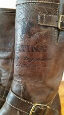LA MARTINA Mid Calf Brown Polo Leather Boots Women's 36 US 6 - Made in Italy
