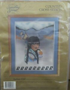 VTG Rare Candamar Something Special Counted Cross Stitch Kit - INDIAN GIRL 50560