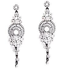 Cocktail Abi Ball Abendschmuck Lange Ohrringe Kristall Transparent 9,5 cm lang