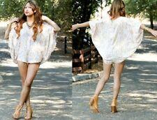 Shakuhachi  Silk US 4 Batwing Jumpsuit Romper shorts cream ivory Boho Festival