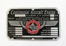 C90, Continental Motors Engine Data Plate, Nice!! Aeronca, Piper Cub, Cessna 140