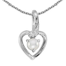 10k White Gold Cultured Freshwater Pearl Diamond Heart Pendant (Chain NOT incl)