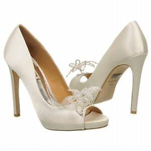 NIB Badgley Mischka Reta wedding bridal pump open toe heel heels satin shoes
