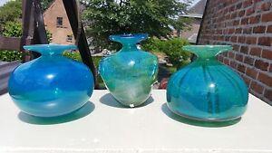 set of 3 large mid century vintage mdina art glass vases blue artist signed
