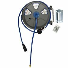 """8mm (1/4"""") x 15m (50ft) Retractable Wall Mounted Air Hose Line Reel At877"""