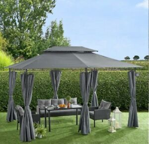 St Lucia 3 x 4m Gazebo with Curtains Canopy Tent with 60pcs Solar LED Light