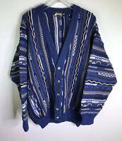 Jazzebo Vtg  90s Coogi Inspired Grandpa Knit Cardigan Sweater 100% Wool Size M