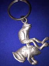 PEWTER LEAP FROG KEY CHAIN 2 X 1.5 NEW WITHOUT TAGS