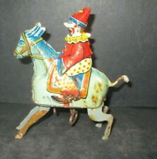 1920S GUNTHERMANN CLOWN ON DONKEY TIN WIND UP TOY Made in Germany A68 PL